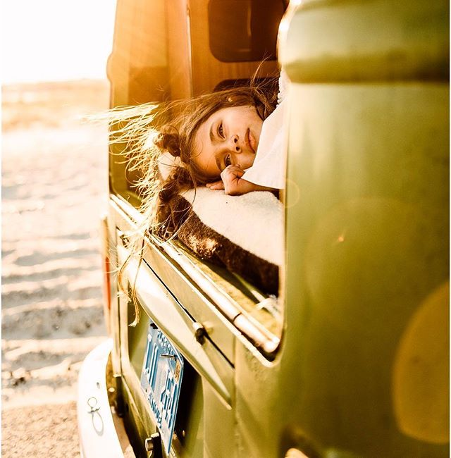 Relaxing in the back of a VW on the beach + suns out. What's better? 💫