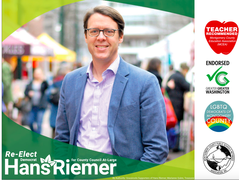 Riemer was endorsed by two orgs with close ties to Dan Reed, the LQBTQ Democratic Club & Greater Greater Washington, furthering talk that Reed and Riemer are working together to sabotage Elrich's administration.