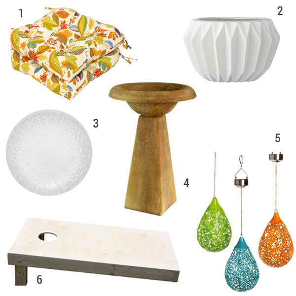 1)  In general, I stick to neutral furniture and add pops of color with accessories, such as these  cheerful outdoor dining cushions .  2)  Oh my word this  fluted round pot planter would be gorgeous inside or out -- I want a fleet of them!  3)  Eating outdoors is less stressful with melamine plates -- these  translucent coral dinner plates are super affordable and also come in teal.  4)  I love the simple look of this  tall modern bird bath . It has a natural look but it's gold -- perfect for merging Jon and my styles! 5) Add color by day (hey, they coordinate with the seat cushions I picked!) and twinkling light at night with these  hanging solar lanterns .  6)  Summer lawn games = awesome and we're huge fans of summer  cornhole !