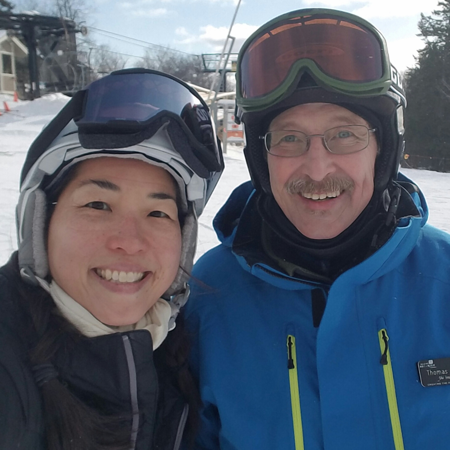 "Tom Fox said he doesn't use the internet (or have a mobile phone!) but he was the one who said, ""We've gotta take our googles off if we're going to do a ski selfie!"""