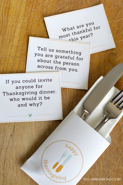 10 free Thanksgiving printables: Thanksgiving conversation starters