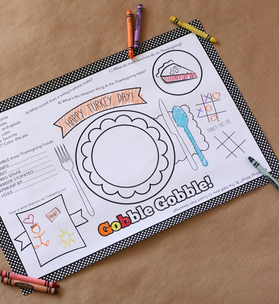 10 free Thanksgiving printables: Thanksgiving placemat + activity sheet