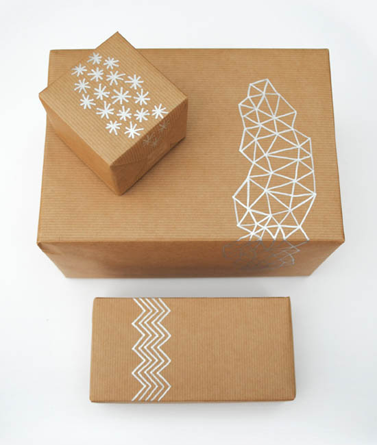 Creative kraft paper wrapping ideas: doodles