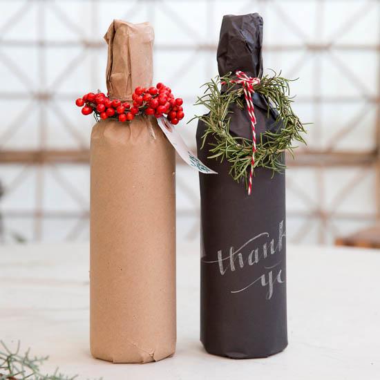 Creative kraft paper wrapping ideas: wine bottles