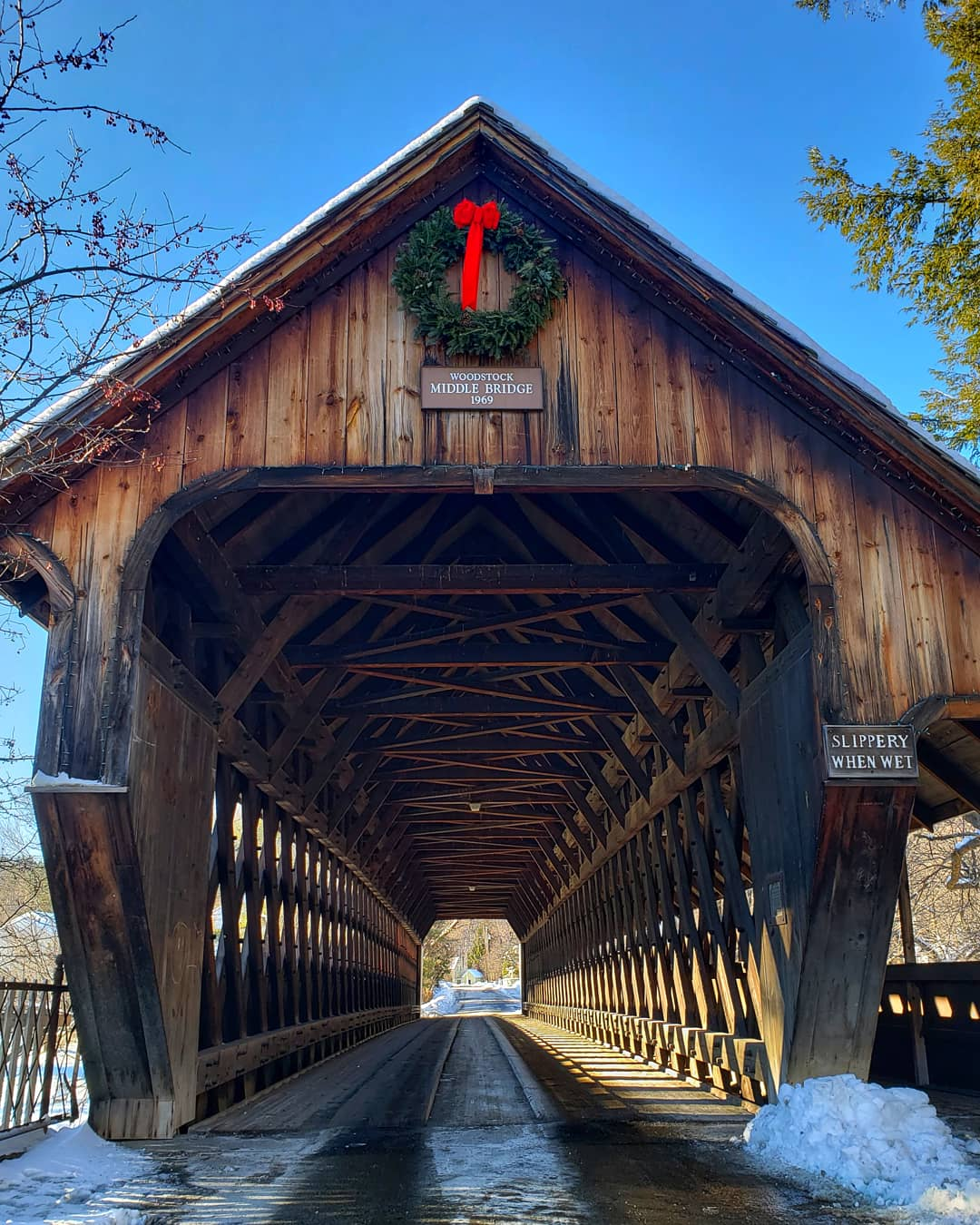 Middle Bridge in Woodstock, VT is right off the green, across the street from the Woodstock Inn & Resort