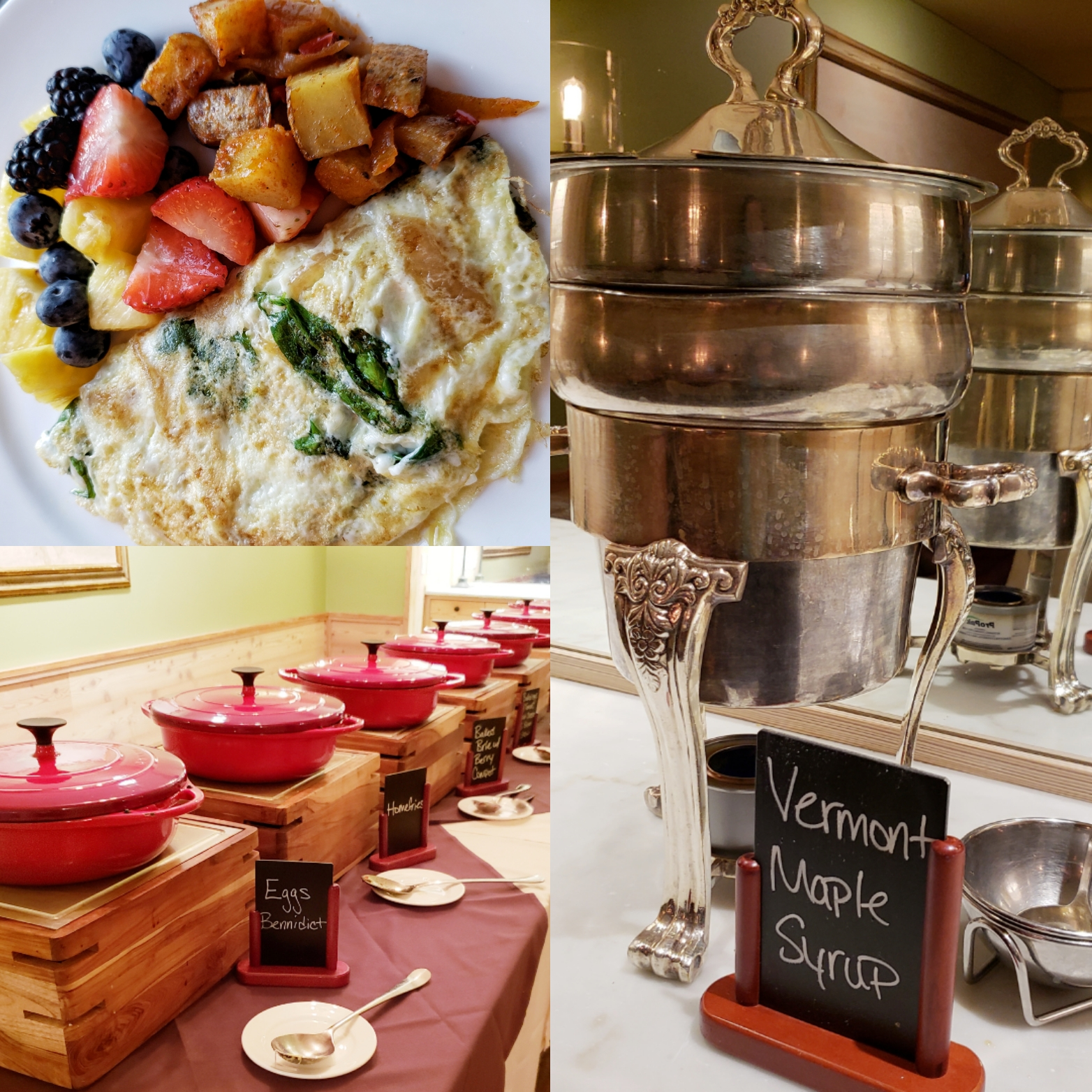 Buffet breakfast at the Woodstock Inn & Resort in Woodstock, VT; there's a whole separate food room not shown in this collage!