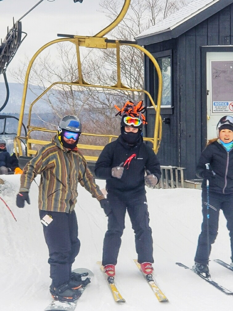Coming off the Tumbleweed lift with my new golden chair BFFs Matt and Ben.