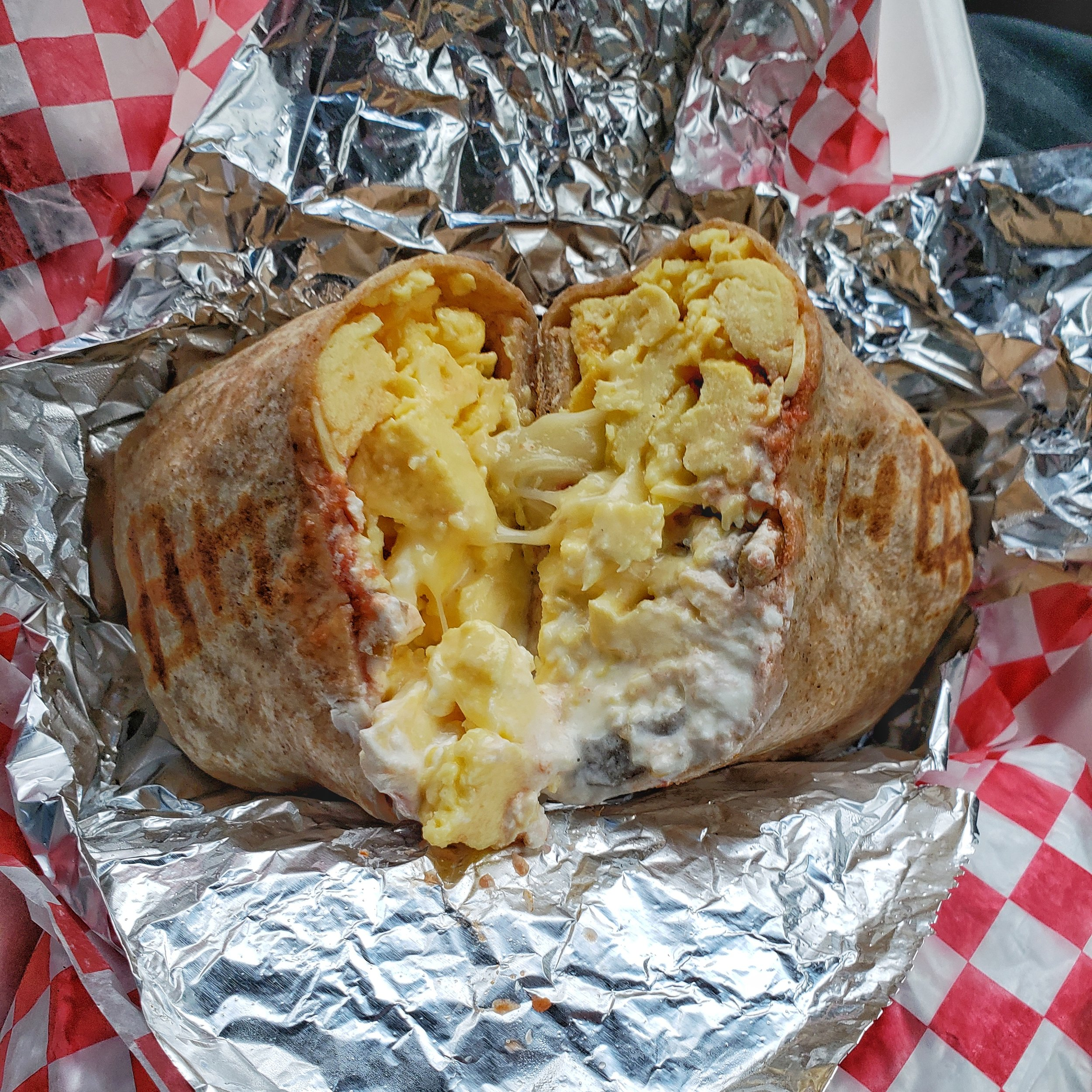 Nothing tastes as good as a giant breakfast burrito after you've been skiing all morning!