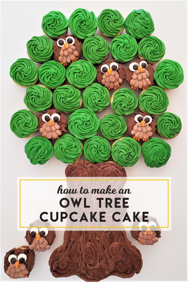 How to make an owl tree cupcake cake