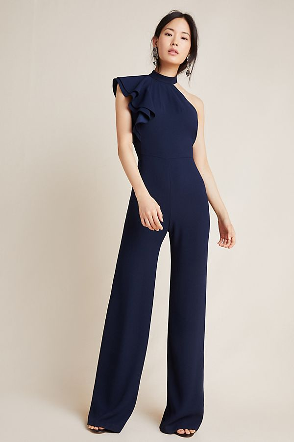 Monique Lhuillier Ruffled Satin Jumpsuit; image by Anthropologie