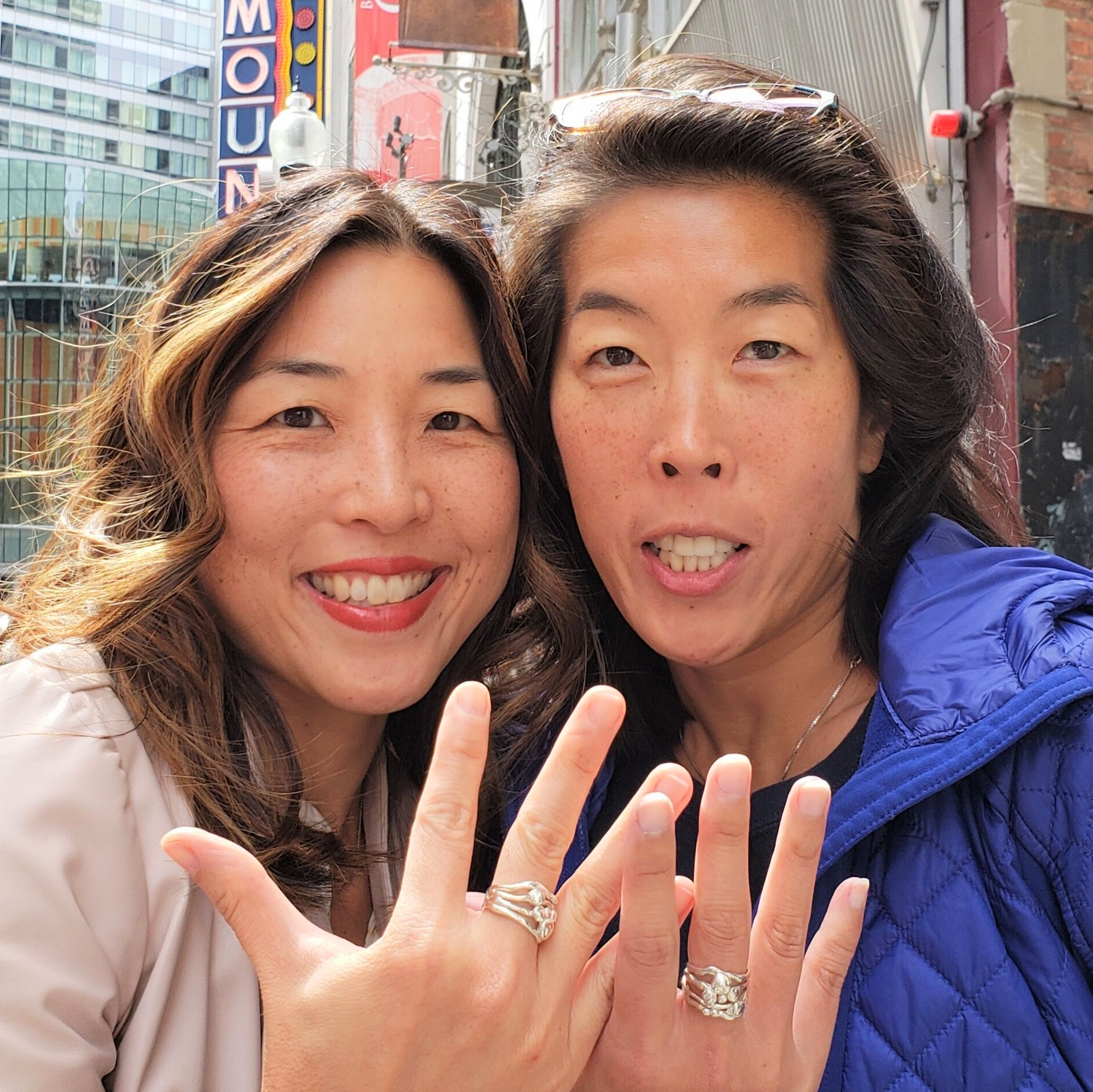 Sheila Corkery rings; image via Christine Koh