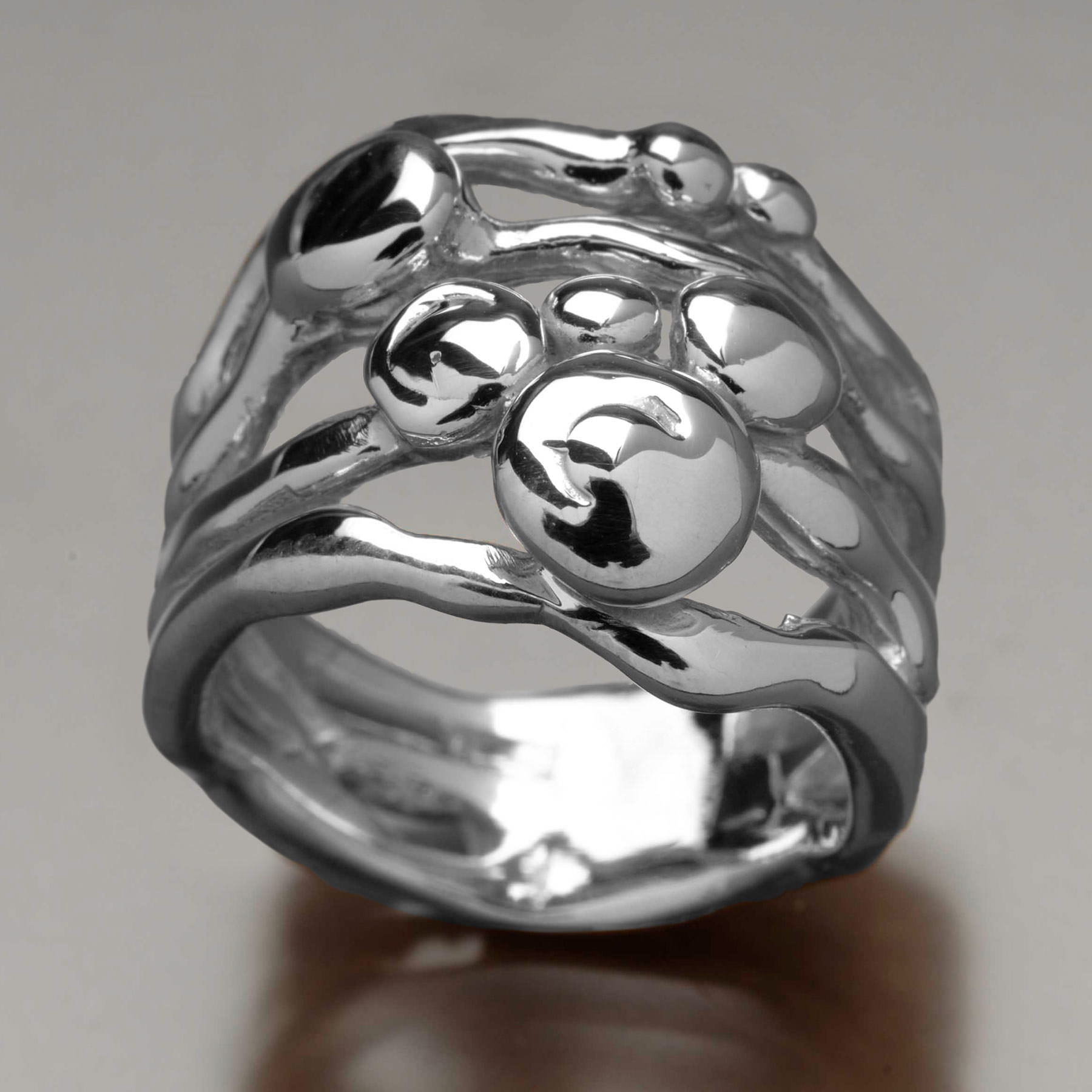 Sheila Corkery silver pebble ring; image via Sheila Corkery Jewelry