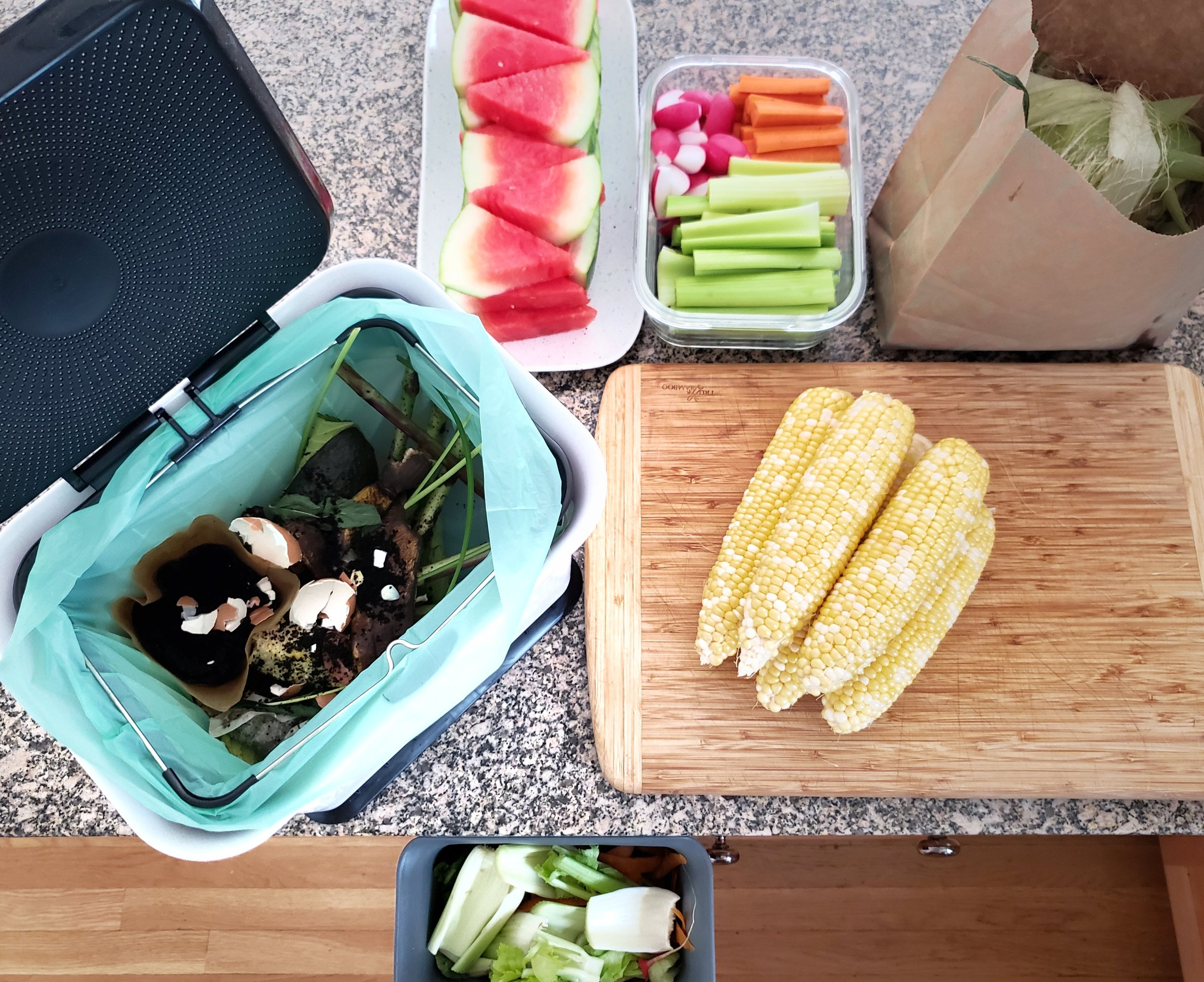Composting while veggie prepping situation in full effect with Full Circle products; image via Christine Koh