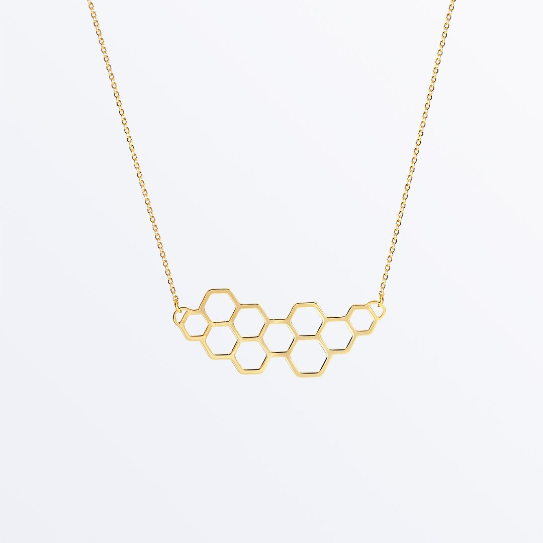 Ana Luisa Jewelry honeycomb necklace; image via Ana Luise Jewelry