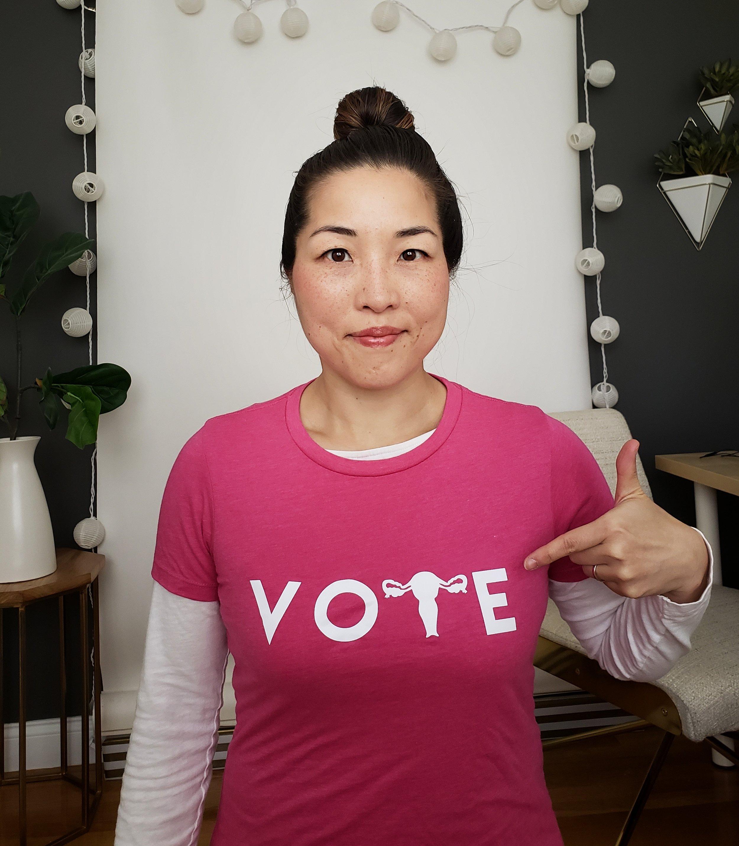 Brave New World Designs Vote Reproductive Rights t-shirt; image via Christine Koh
