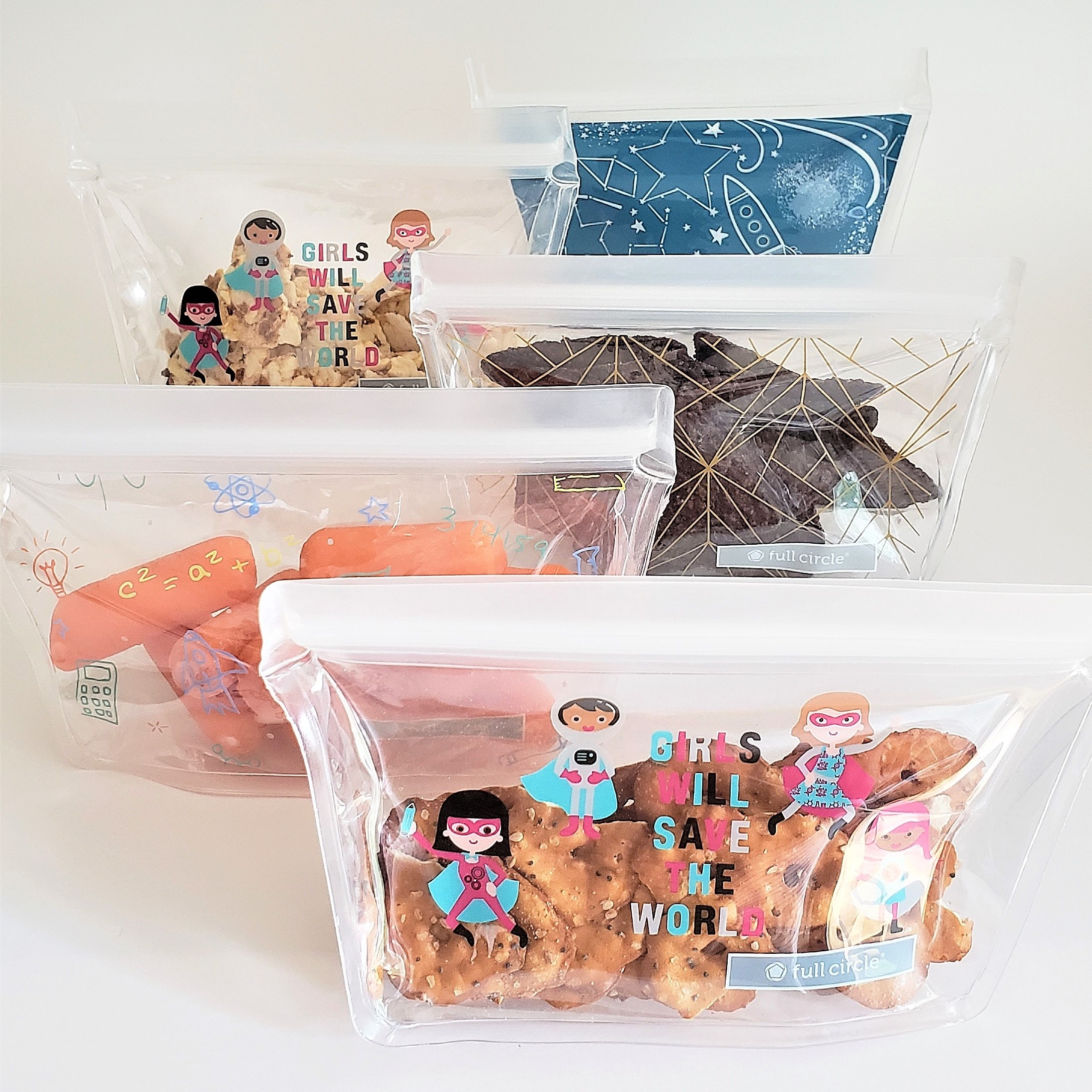 Have your kids advance load snacks (adorable snack bags by Full Circle)