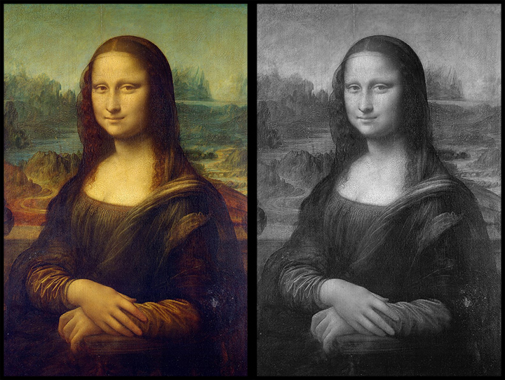 Both pictures of the Mona Lisa contain value. The image on the left contains color