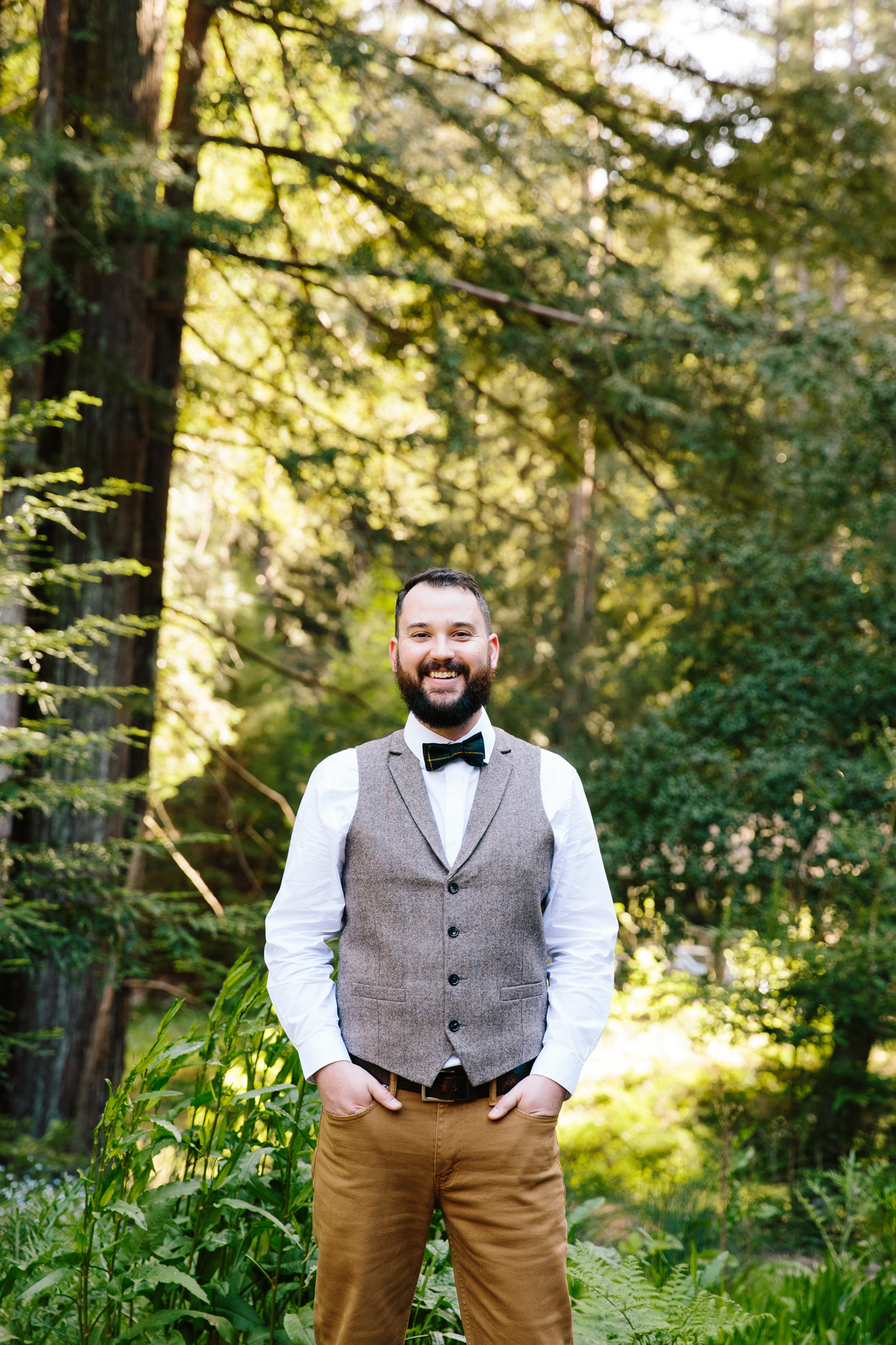Groom in Vest & Khakis with bowtie
