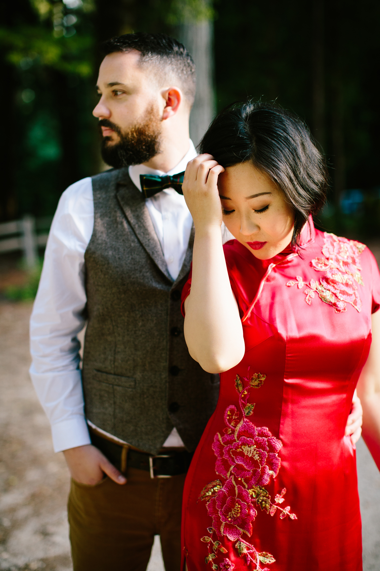 Red wedding gown in the redwood trees