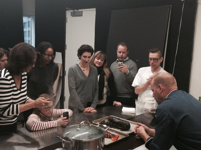 chef ben POLLINger teaches editors from Family circle & Everyday with Rachel Ray about Soft and hard shell lobster