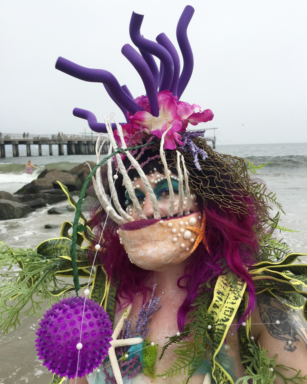 Anglerfish Mermaid Costume //  Coney Island Mermaid Parad e //2017   Anglerfish jaw // Anglerfish light-up lure // Sea anemone headdress // Kelp shoulder pieces // Makeup