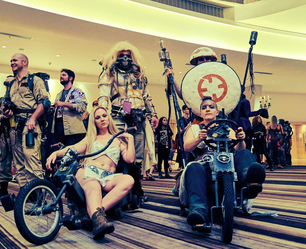 "Dag/Leia Mad Max/Star Wars Mashup   100% by me. This tiny outfit was made by me for our group cosplay. The slave Leia bottoms were made from foam, fabric, hot glue, and a LOT OF PRAYERS! I had to make a thong (first time for everything, right?) and attach it to the foam bits. Oh man was I nervous to wear this! The top is fabric that I had twisted and sewn. Corseted in the back of the top. And finished up with making the slave Leia top curly cues with silver metal and sewn that on top of it all (of course you can't see it).  Originally I was going to pop this down at the ""honorable mentions"" area but I said nope. The reason I did this was because my whole cosplay career I looked up to Maggie (who is FuReyosa next to me) and when Maggie asked me to be their Dag/Leia I thought to myself ""I made it. I'm finally here"" Her fiance is Duncan who is BB-8. this group was such fun and I'd do it all over again."