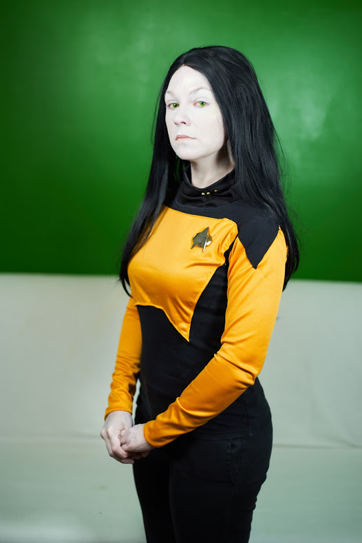 Data - Star Trek  Ah Data. My first crush. My second was Spock. Hello, I'm Jenna, and I'm a Trekkie Top was made by me, and my claim to fame on this bad boy is I found out the exact makeup they used on him.  Photo by  www.facebook.com/owlbearmedia