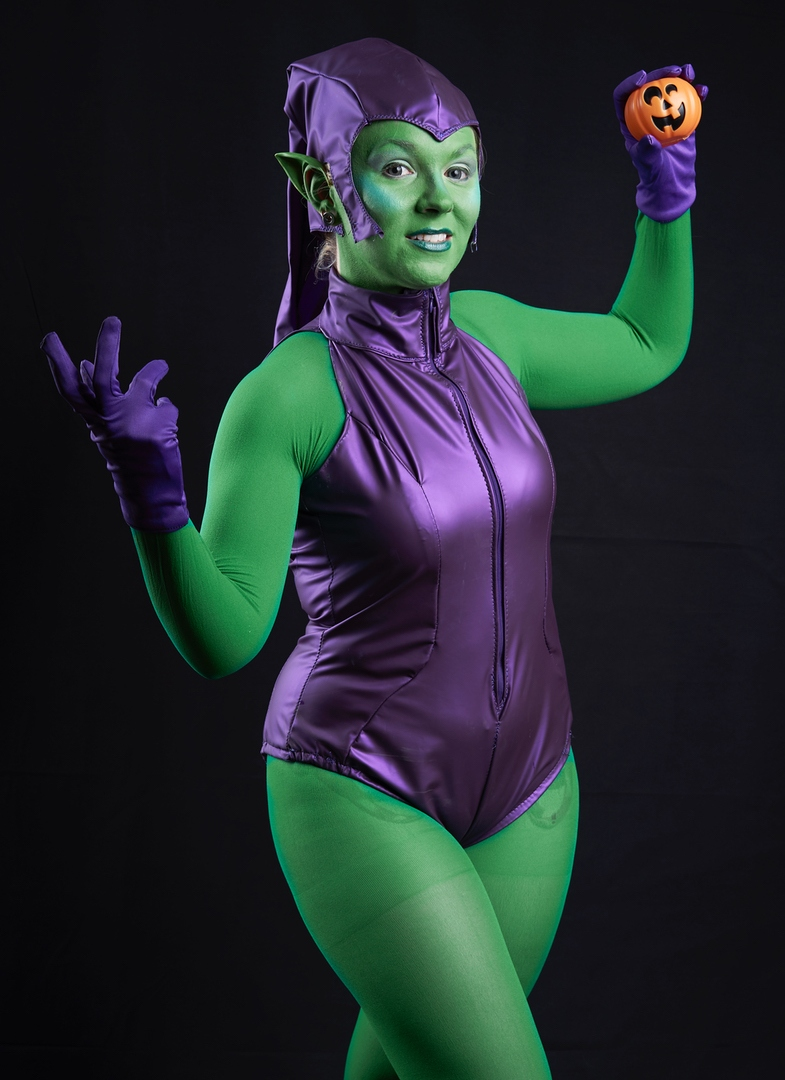 Green Goblin 2.0- Spiderman  Ah…2.0. Finally….But I'm not happy with him still. GOBLIN! STOP BEING A PAIN Used Yaya Han fabric…but not her pattern. That was my mistake.  Apparently it really ISN'T easy being Green.    Photo by Owl Bear Media