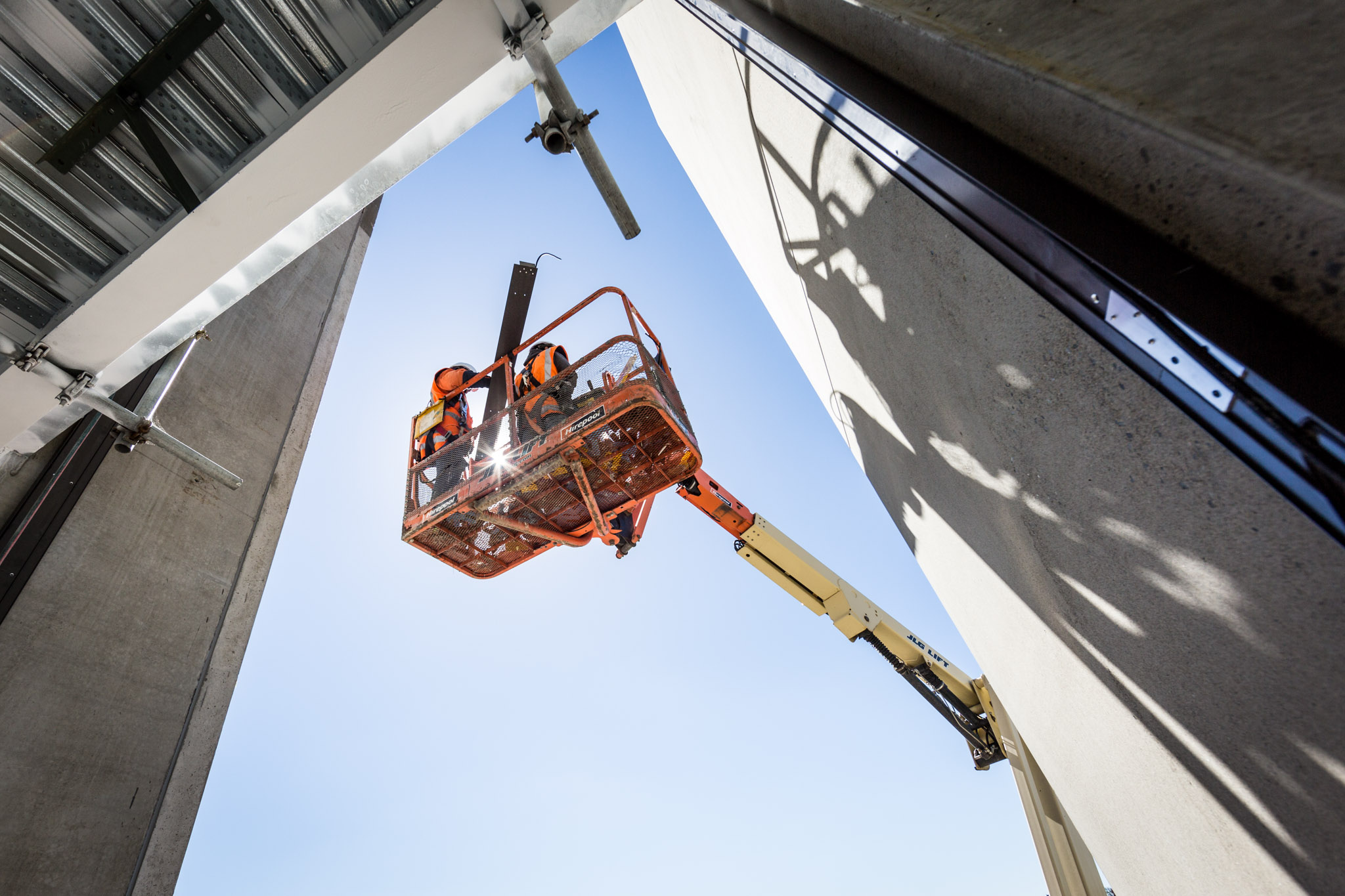 Boom lift and concrete panels
