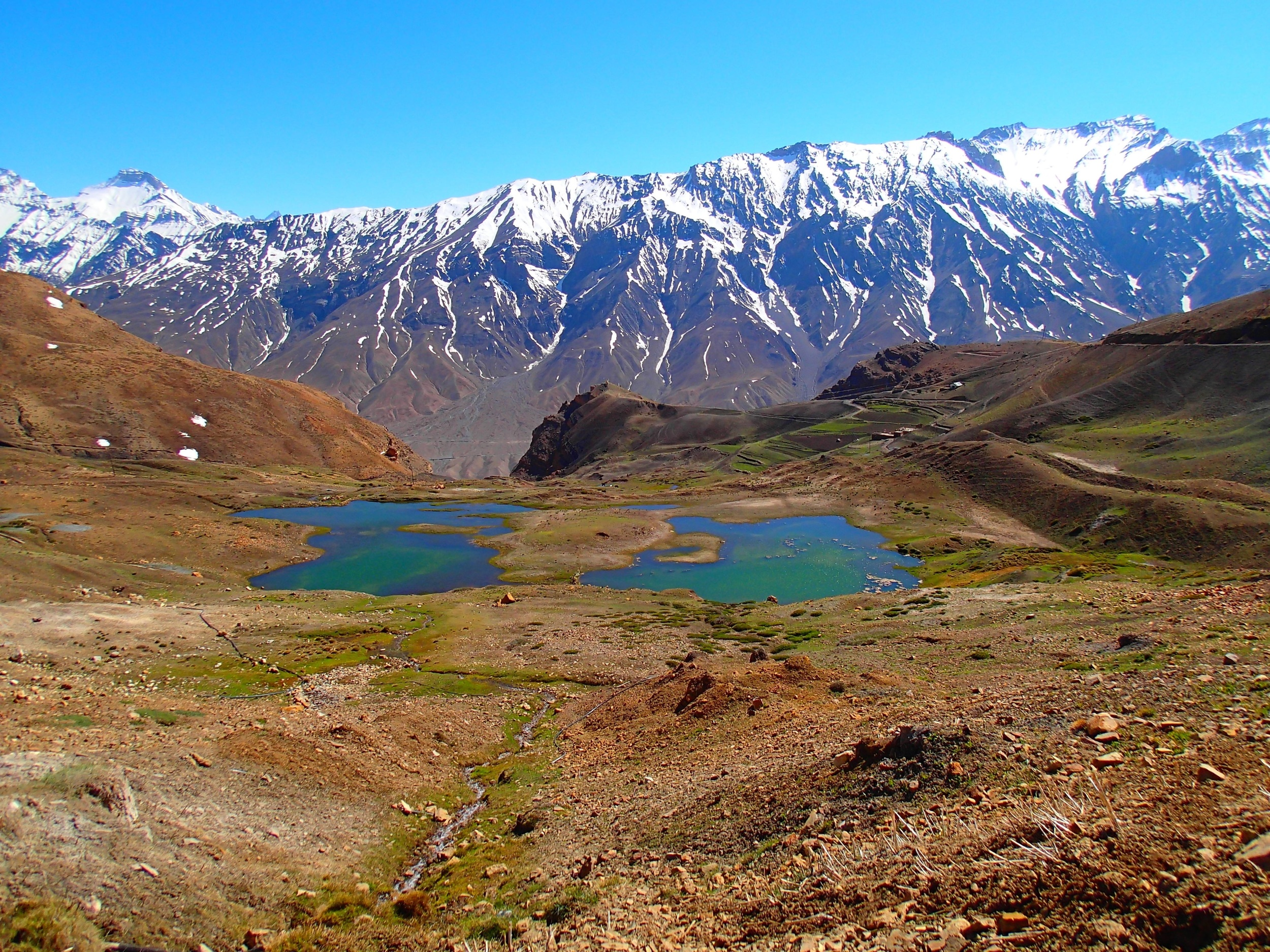 Mountain lakes above Ki Gompa