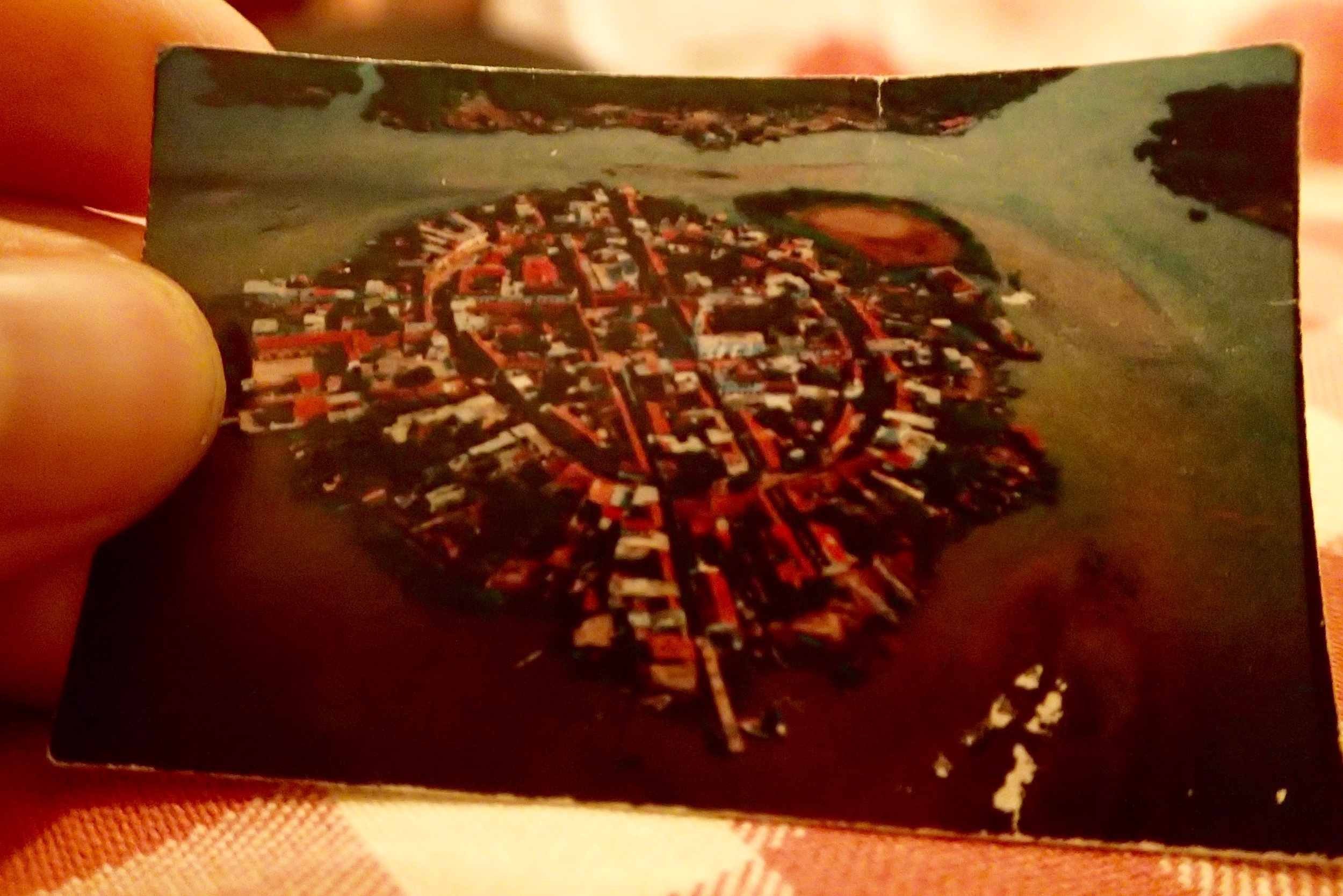 A momento; a pocket sized aerial shot of the island. The brown patch in the back right is where the soccer field usually is.