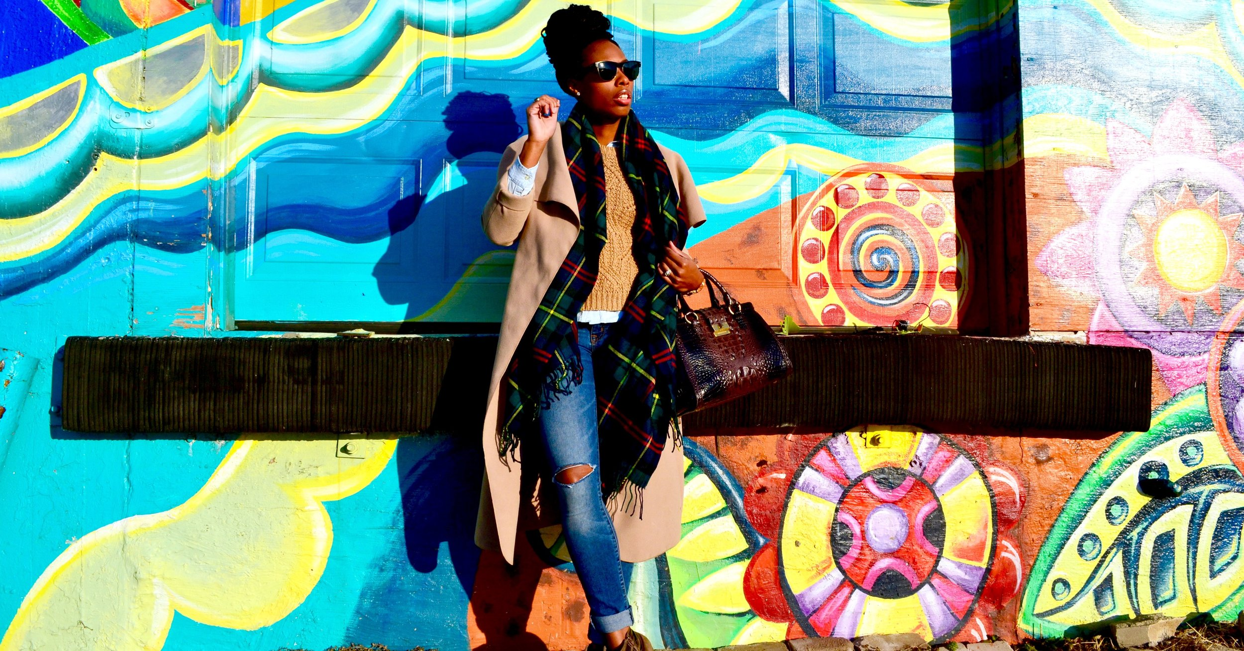 Coat by Fashion Drug, Scarf from Target, Jeans from Rue 21, Boots from Rue 21, Sweater from Old Navy, Button Up from Old Navy