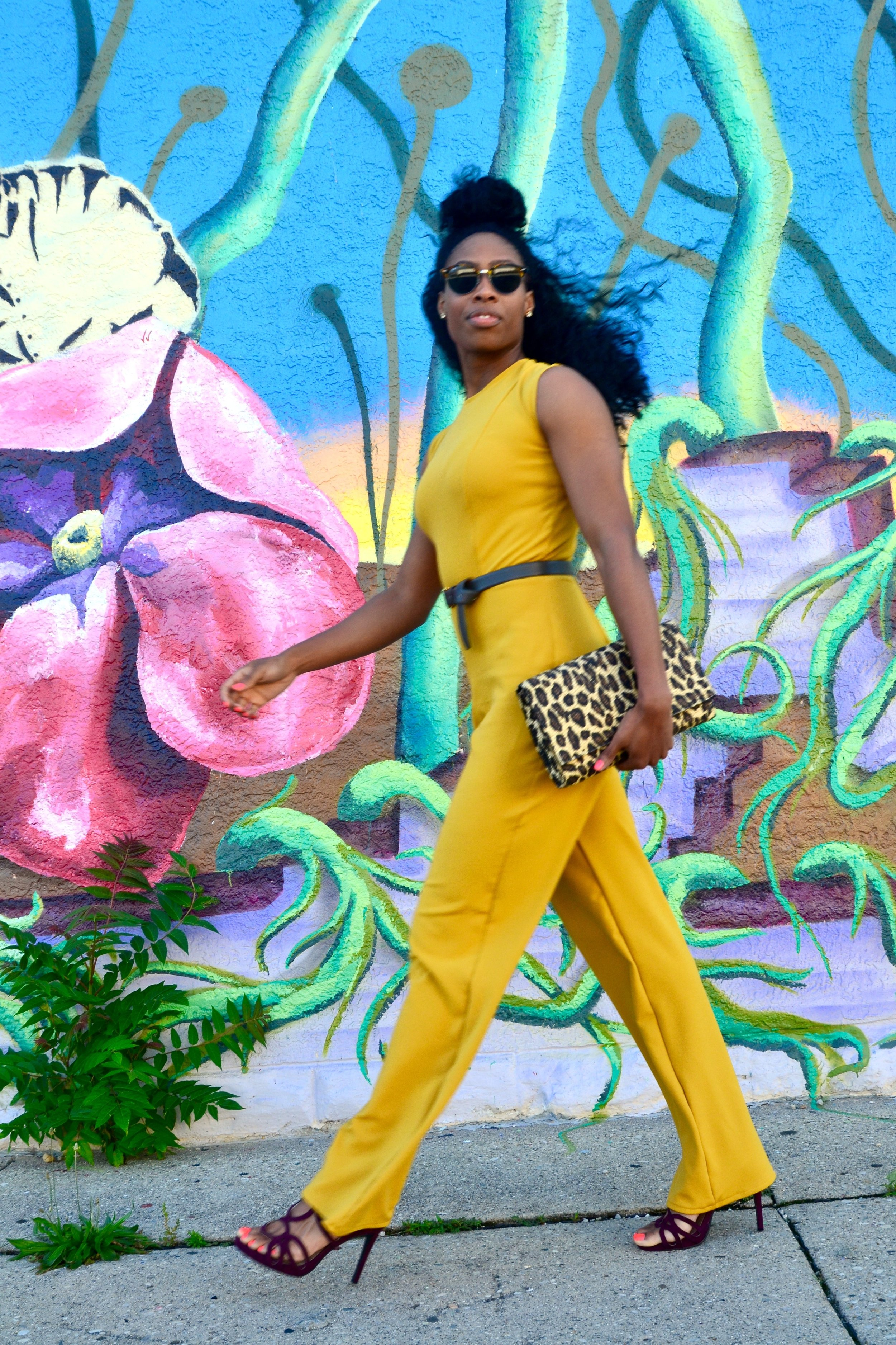 Jumpsuit by Assata Designs,  Shoes from DSW, Clutch from Forever 21
