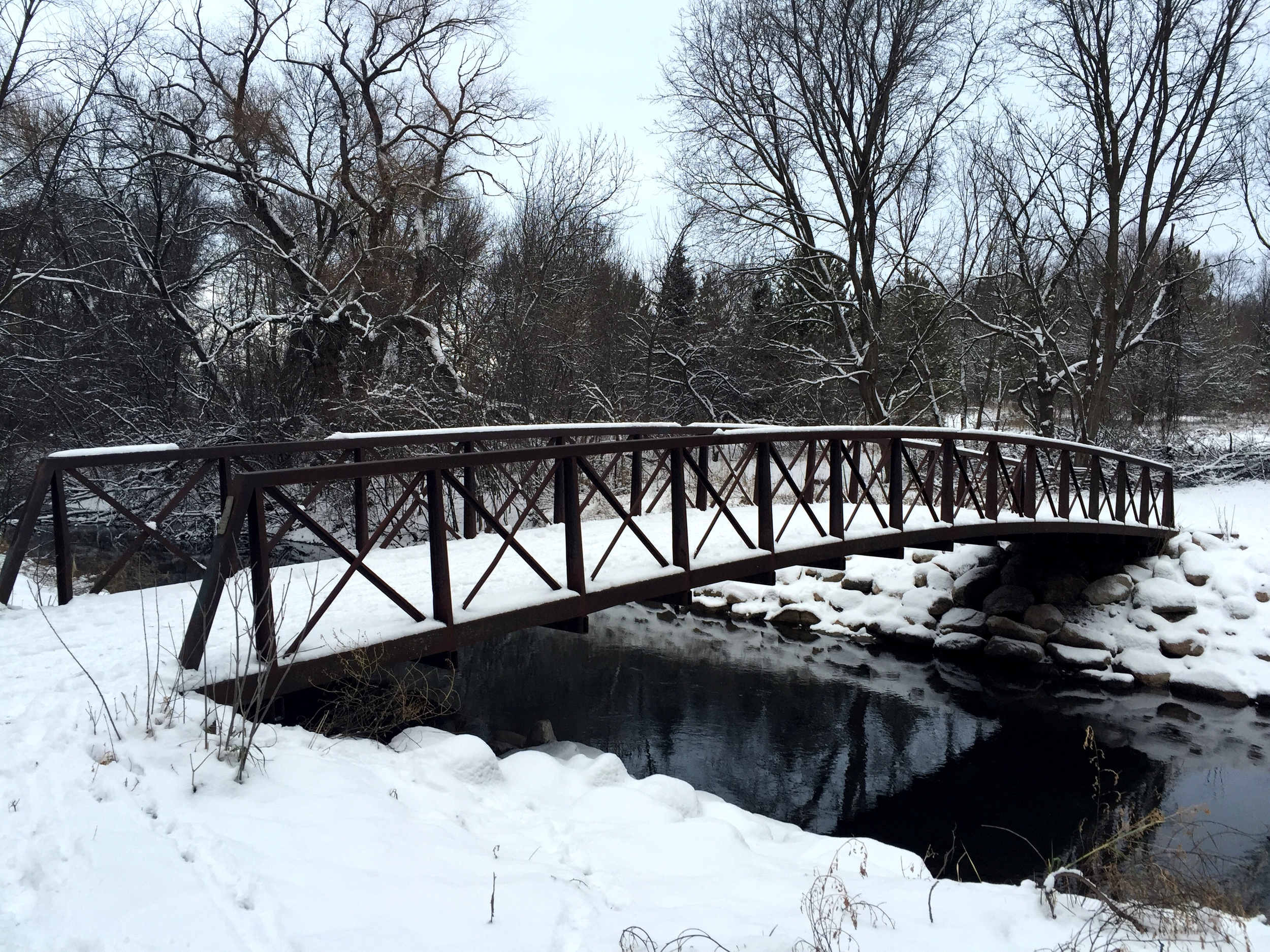 Bridge over Bassett Creek at Theodore Wirth Park in Minneapolis, Minnesota.