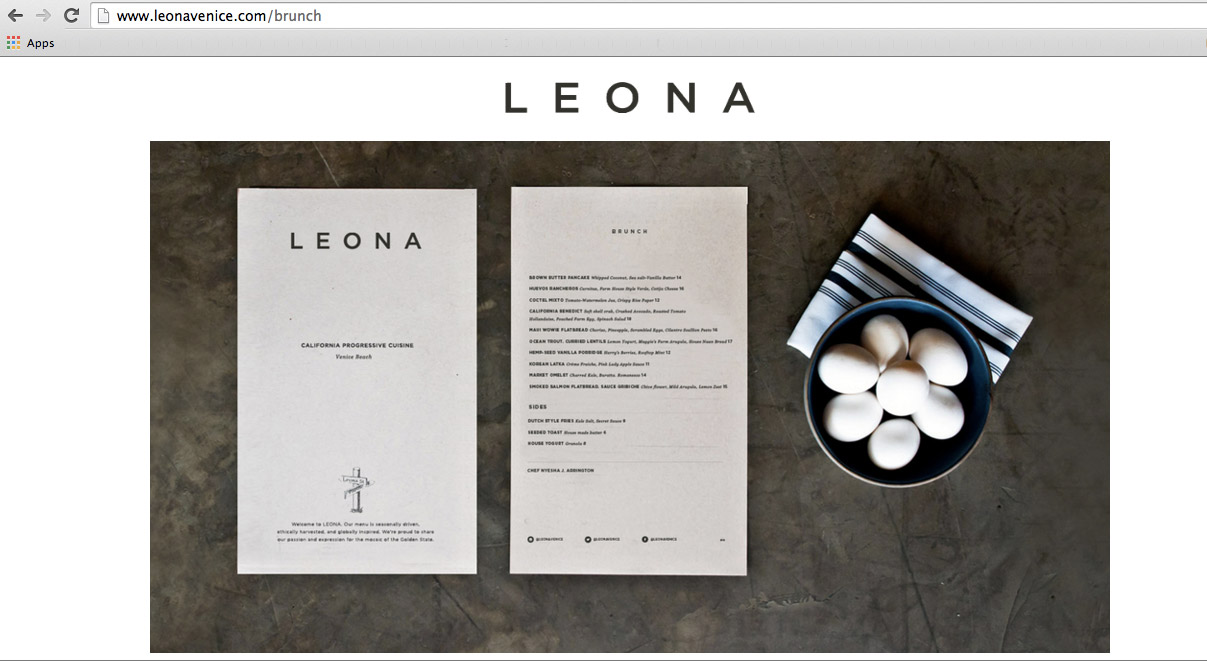LEONA's website featuring the shot I took of their Brunch Menu.