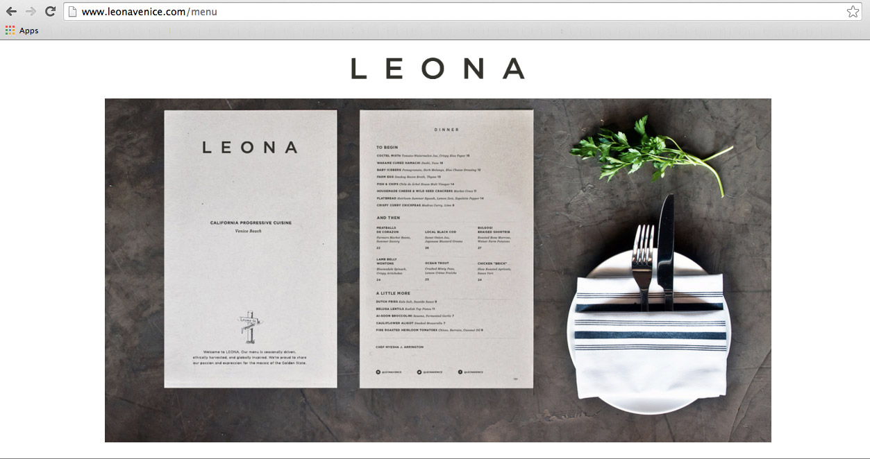 LEONA's w  ebsite featuring the shot I took of their Dinner Menu.