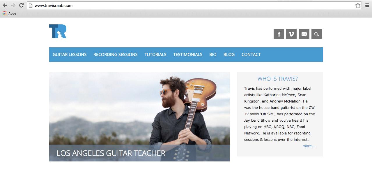 Hero shot photo on musician, Travis Raab's website.  Los Angeles guitar teacher and session guitarist  www.travisraab.com
