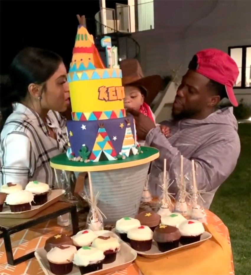 Teepee cakes and cowboy hats, that is what Kevin Hart and wife, Eniko Parrish chose for their son's first birthday party. Photo: US Weekly
