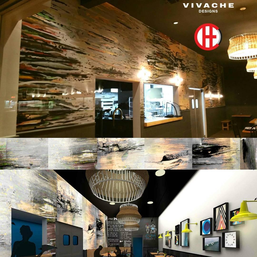 Vivache Designs ' final mural, mock-up design and spatial mock-up at  C&M Cafe .