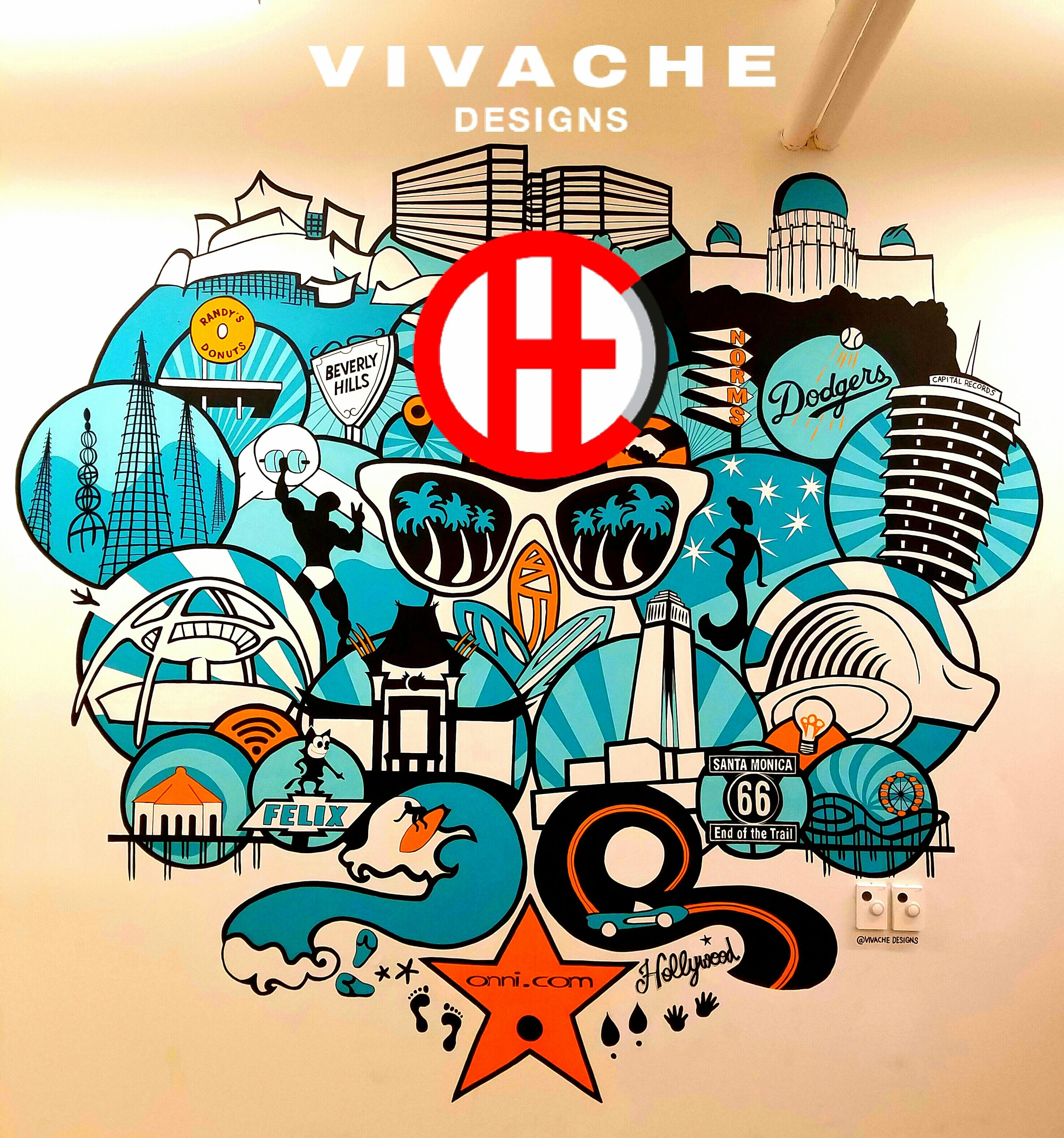 This Vivache Designs original iconic painted wall mural was custom designed for WeWork in The Manhattan Beach Towers in Los Angeles. This mural is all about Los Angeles iconic buildings, signs, sports team, and famous places.