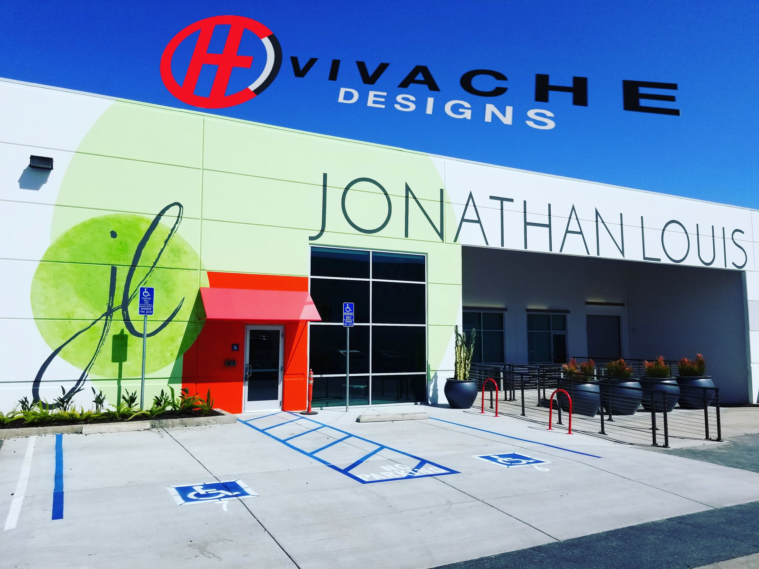 Vivache Designs is your 100% trusted mural painter. This mural painting signage is a custom design for Jonathan Louis's Corporate Headquarters in Los Angeles. If you need the best mural painter Los Angeles give is a call 1-866-VIVACHE NOW!