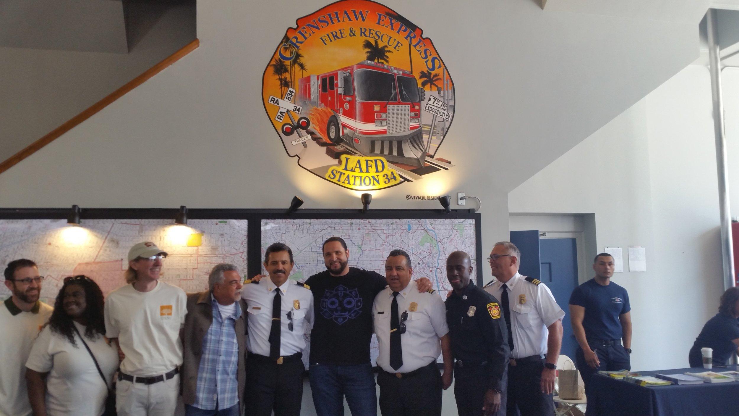 Vivache Designs Mural Painting for LAFD Fire Service Day Michael Che Romero & LAFD Staff.jpg