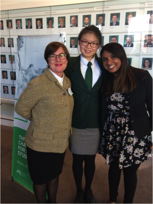 Dr Toni Meath, Anna Sing and Ms Vani Manokaran at Parliament House Canberra for the announcement of the Australian Olympiad teams, June 2017