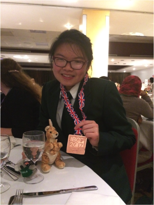 Anna Sing (Class of 2017) at the closing ceremony of the International Biology Olympiad, July 2017.