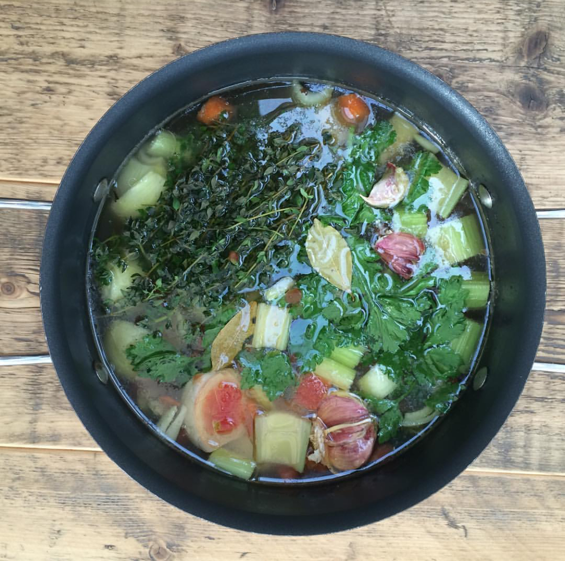 Bone broth is a great way to get extra protein and nutrients in to my diet.  Inspired by the Hemsley and Hemsley cookbook.