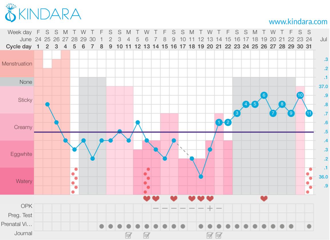 Example fertility chart using Kindara - fertility awareness method