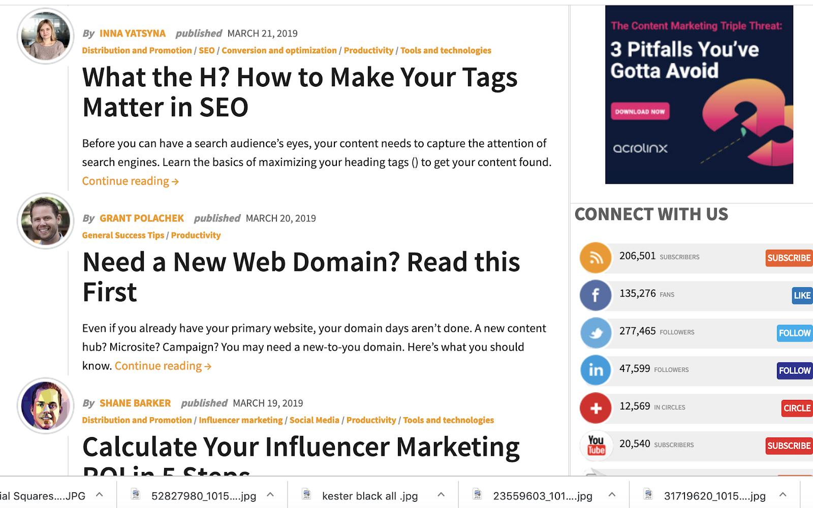 Content marketing institute blog screenshot