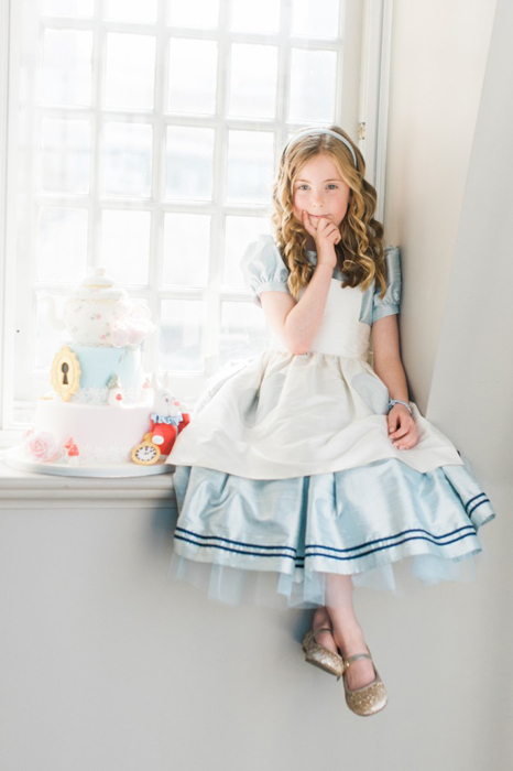 How cute is this 'Alice in Wonderland' style dress by Little Bevan? Photograph by Kate Nielen Photography.