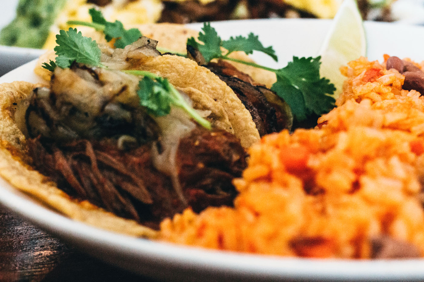 Barbacoa slow-braised steak tacos