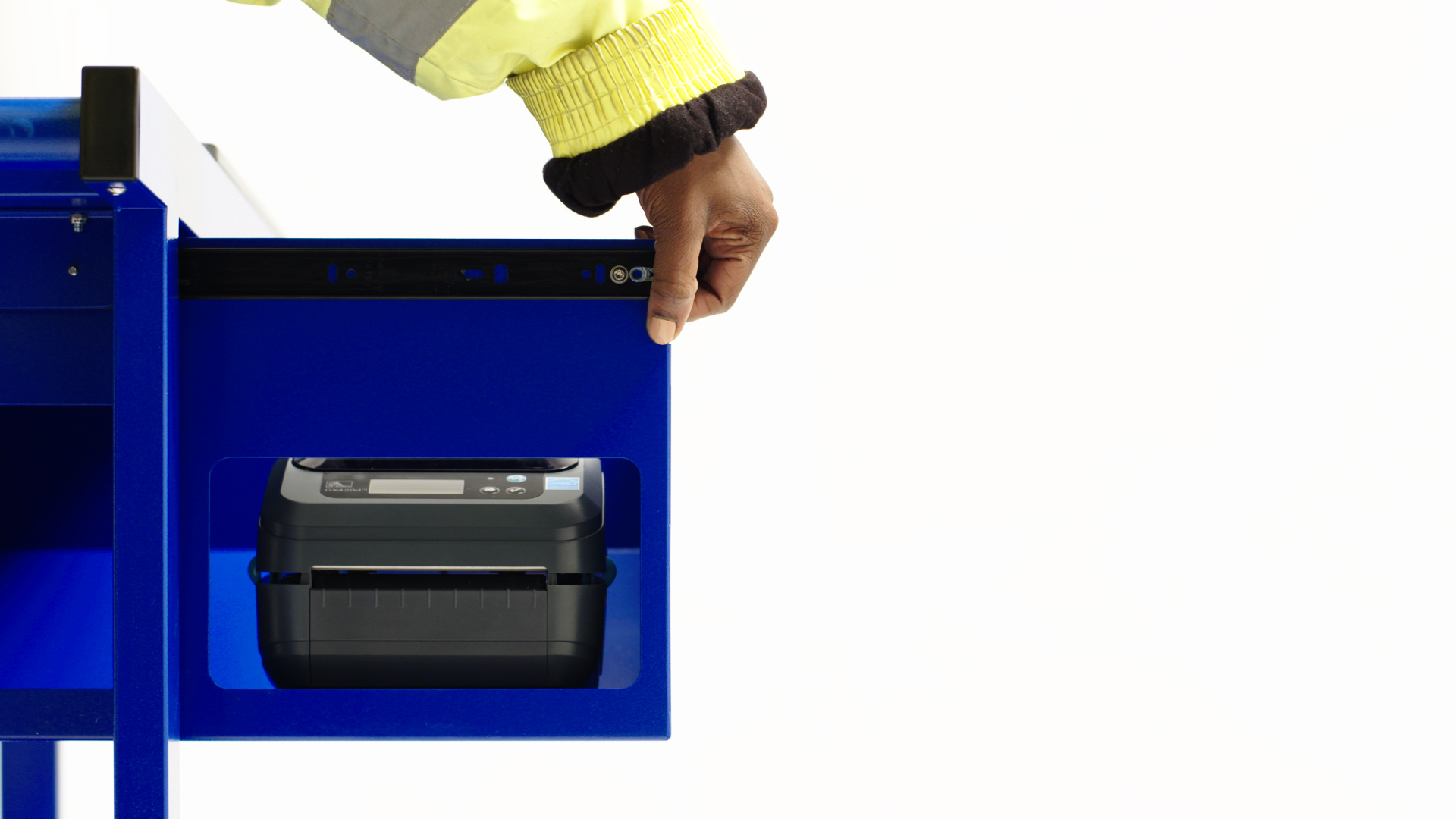 Falcona Mobile Powered Workstation - Sliding Printer Drawer